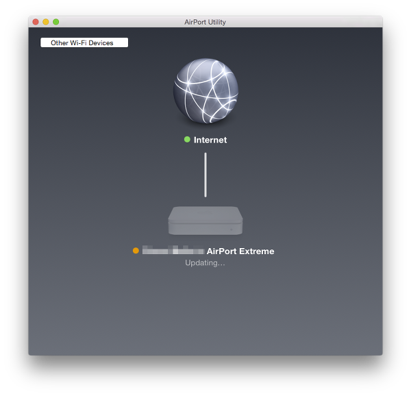 wait for AirPort Extreme router to update