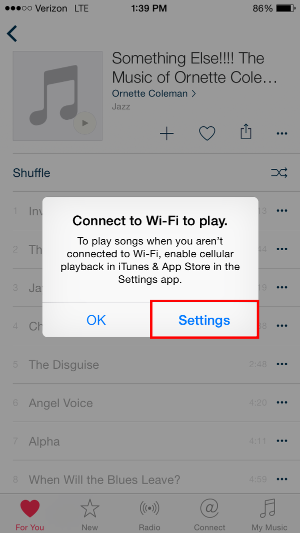 Turn on WiFi or Apple Music Cellular Data Settings