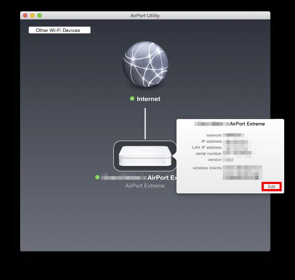 edit AirPort configuration
