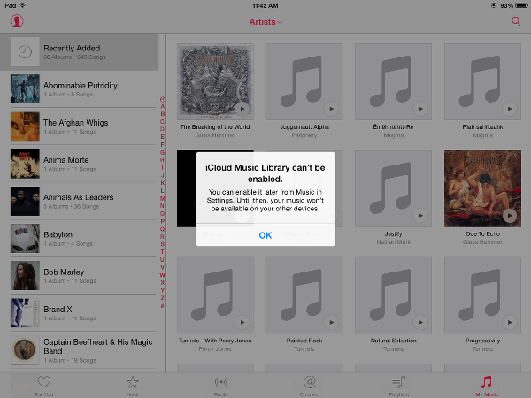 iCloud Music Library Can't Be Enabled