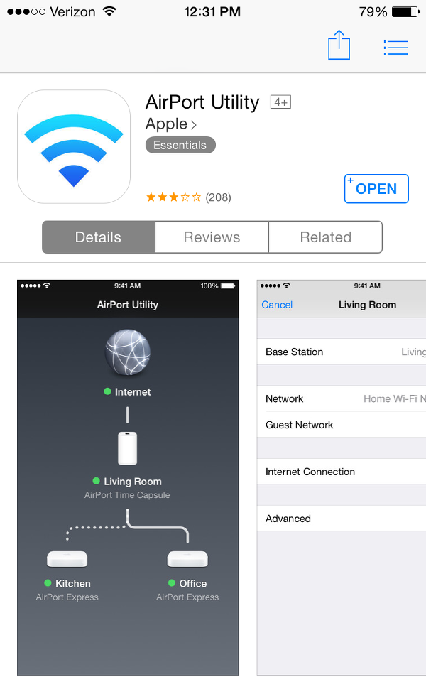 install AirPort Utility on iPhone