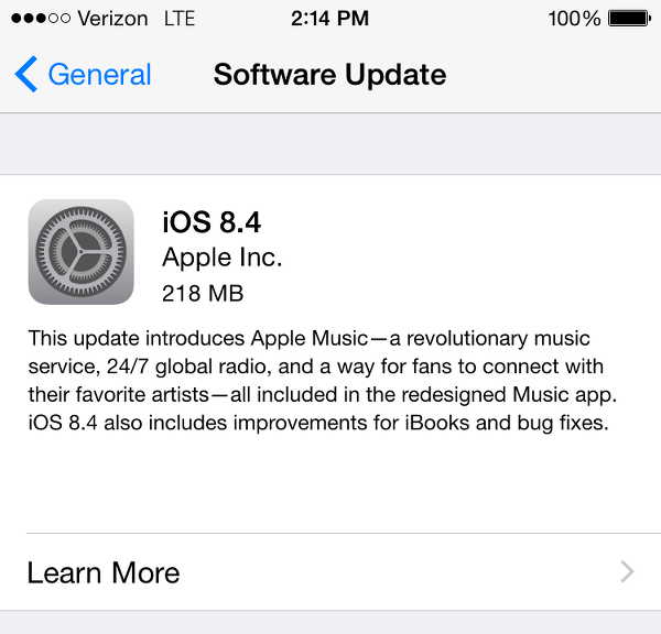 iOS 8.4 update screen