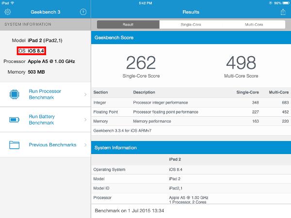 Geekbench 3 benchmark of iPad 2 running iOS 8.4