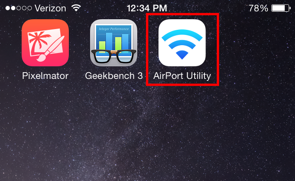 launch AirPort Utility app on iPhone