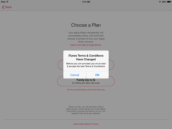 Apple Music Prompt to View Terms and Conditions
