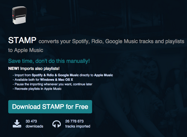 Import Music from Spotify Rdio and Google Music with STAMP