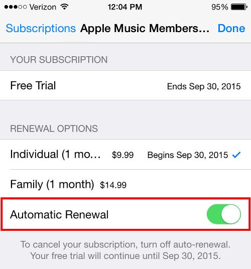 Apple Music Auto-Renewal Subscription Screen