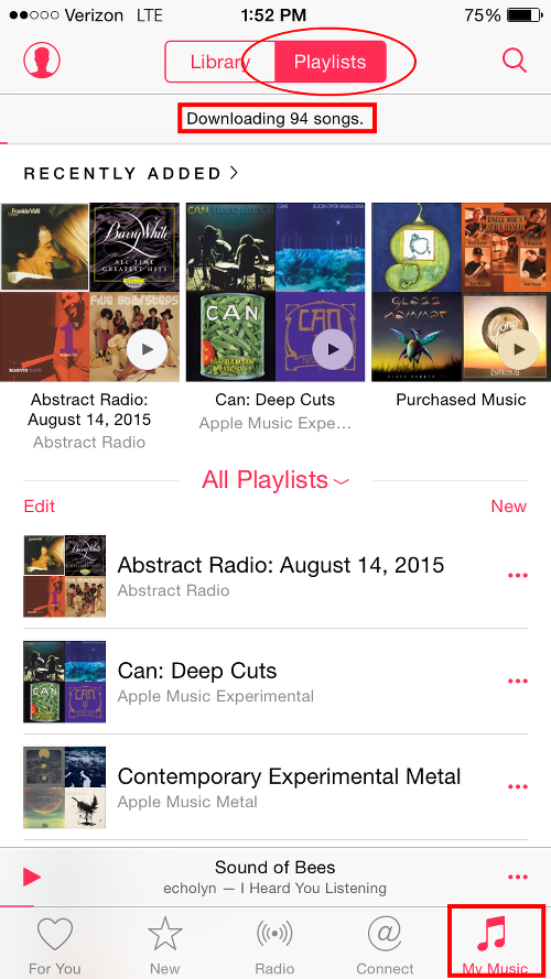 Beats 1 Radio Playlist Added to My Music and Downloading