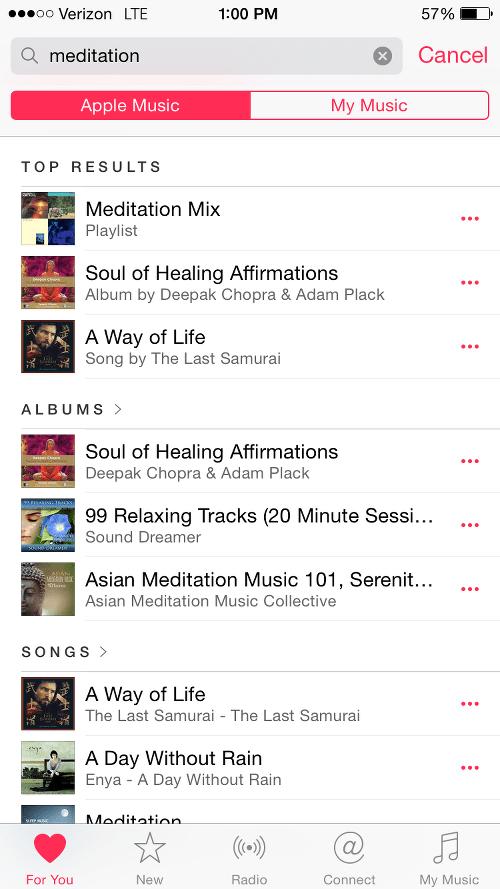 Meditation Tracks on Apple Music