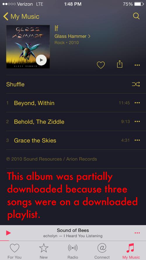 Downloading Playlist Creates Partial Album Downloads