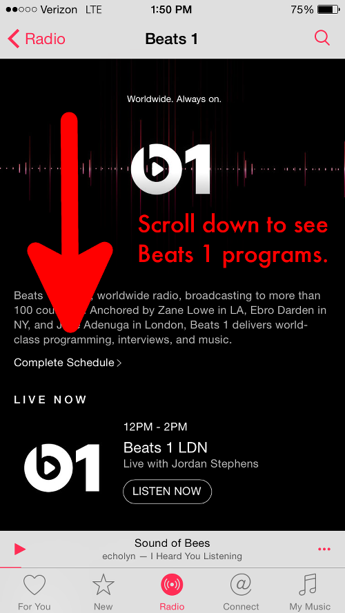 Scroll down to View Beats 1 Programs