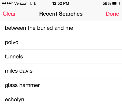Apple Music Search History Screen
