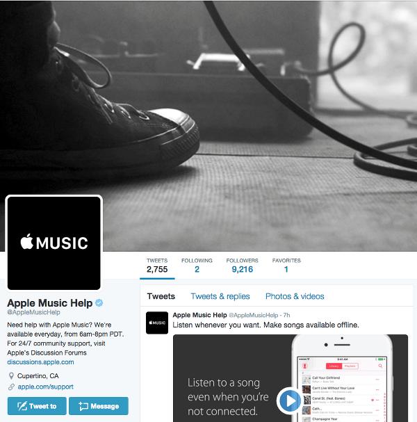 Apple Music Help on Twitter