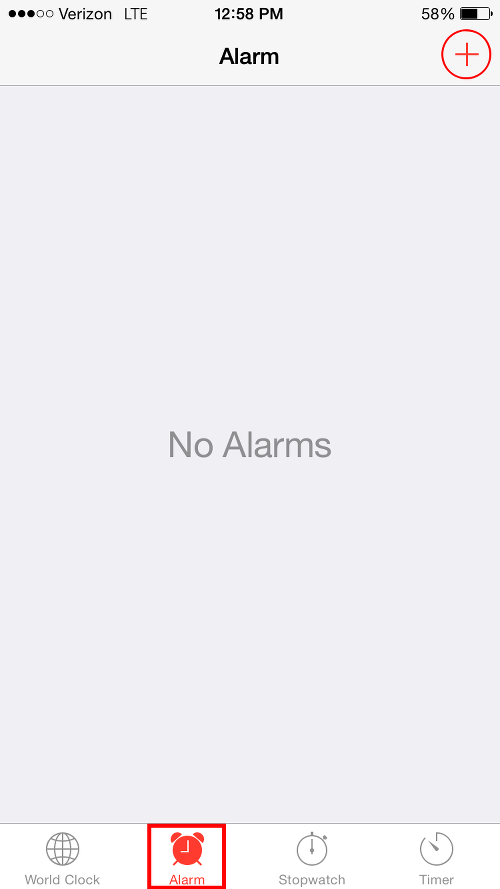 Tap Alarm and plus Button