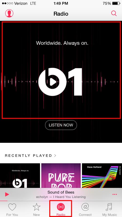 Tap Beats 1 Radio Icon to View Programs