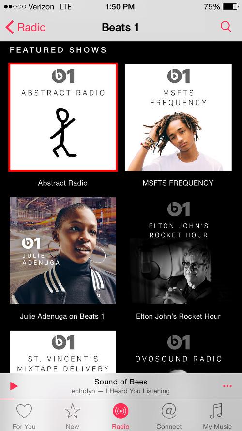 Tap Beats 1 Program to View Playlists
