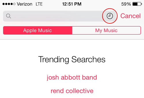 Tap Clock Icon for Apple Music Search History