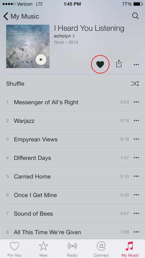 Tap Heart Icon on Apple Music