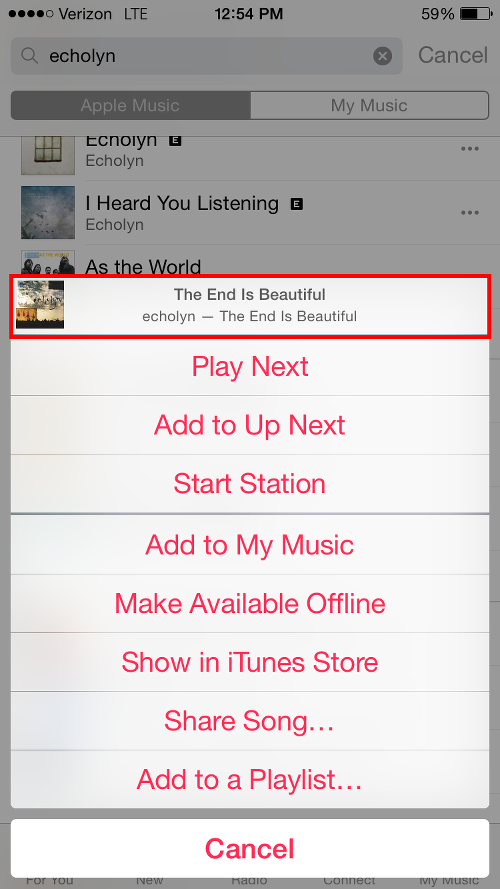 Tap Song on Menu to View Album