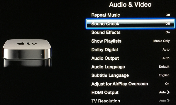 Turn off Sound Check on Apple TV
