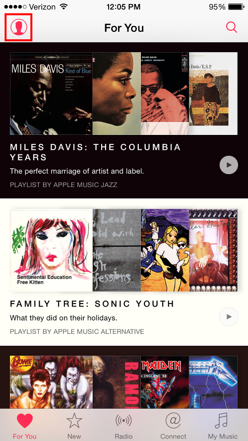 Tap User Icon on Top Level Apple Music Screen