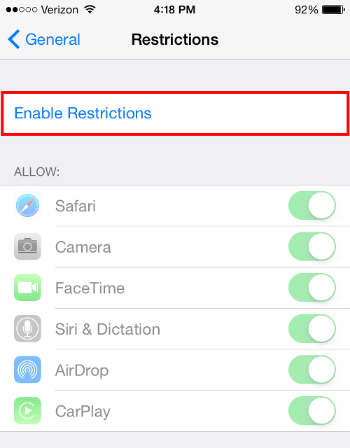 Enable Restrictions to Turn off Apple Music Connect