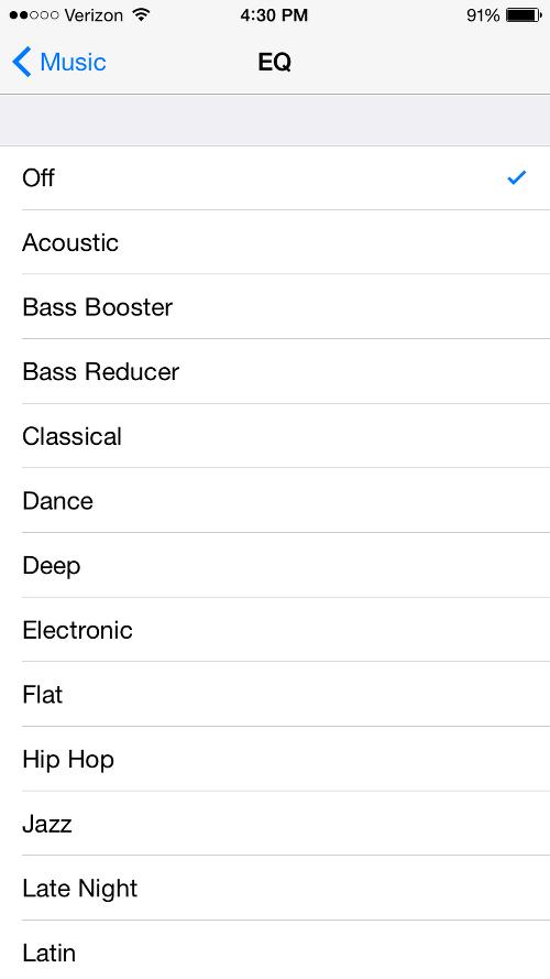 Apple Music EQ Settings