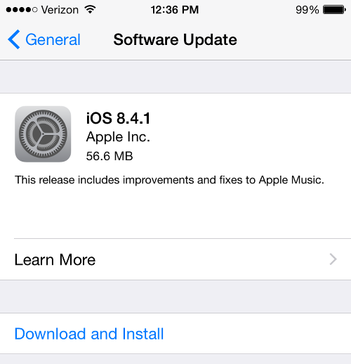 iOS 8.4.1 Update Screen
