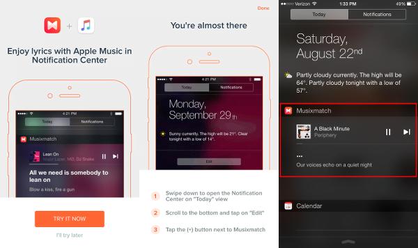 View Apple Music Lyrics in Notification Center with Musixmatch Lyrics Finder