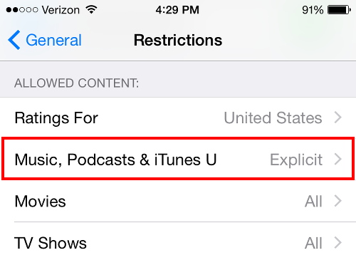 Tap Music Podcasts iTunes U for Explicit Setting