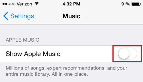 Turn off Apple Music