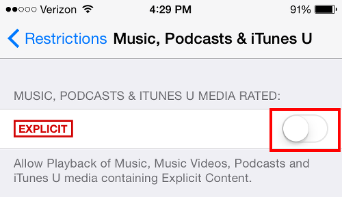 How to turn off explicit on apple music