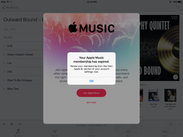 Alert When Playing Apple Music After Canceling