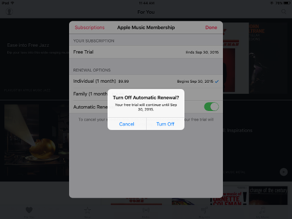Apple Music Confirm Turn off Auto Renewal