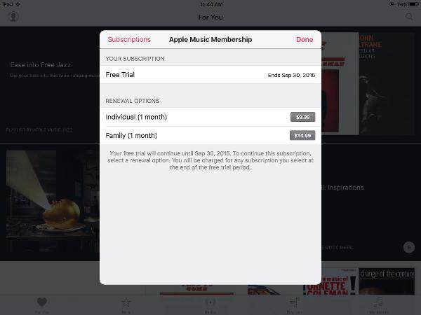 Apple Music Renewal Canceled