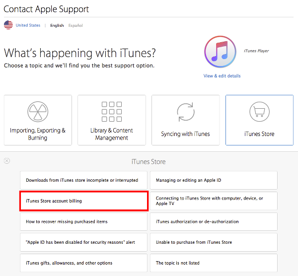 Select iTunes Store Account Billing to Cancel Apple Music