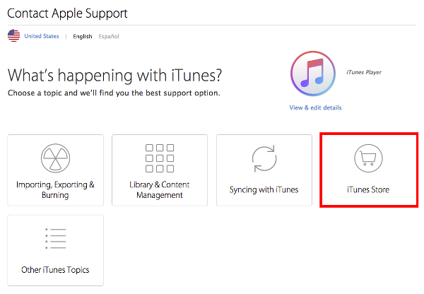 Select iTunes Store to Cancel Apple Music