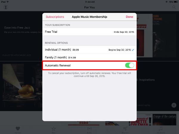 Apple Music Turn off Auto Renewal