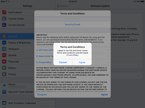 Read and Accept Terms and Conditions to Install iOS 9.1 Upgrade