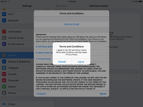 iOS 9.0.2 Accept Legal Agreements