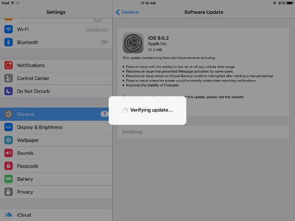 iOS 9.0.2 Verify Update