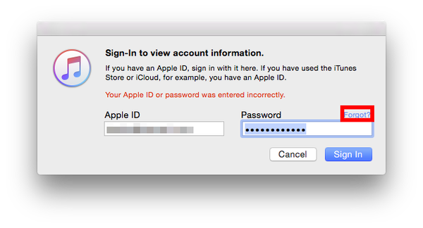 Sign in to iTunes Store Rejected