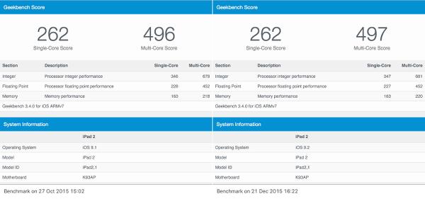 IOS 9.1 vs IOS 9.2 Geekbench 3
