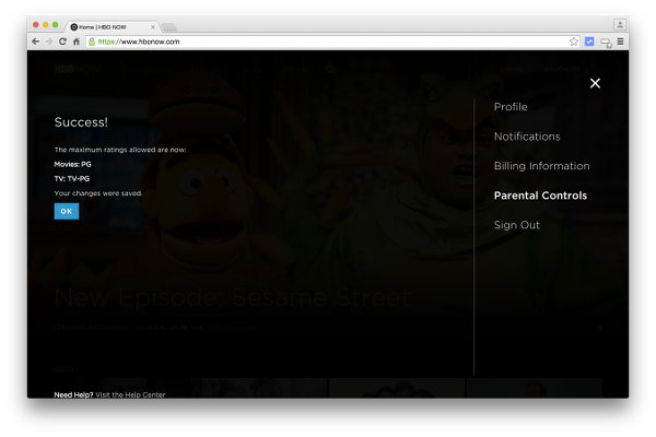 HBO NOW Parental Controls Successfully Changed