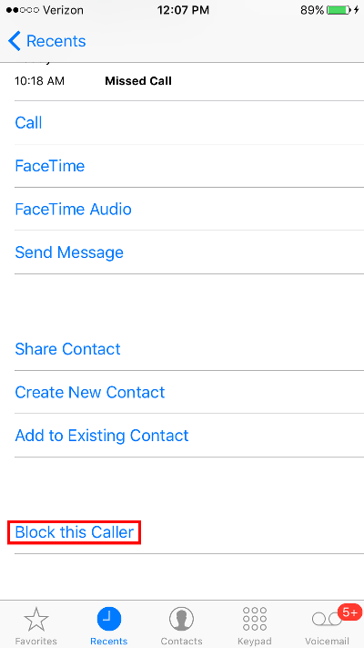 Block Calls on iPhone Block Recent Caller