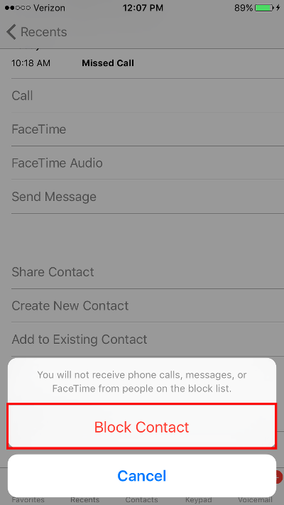 Block Calls on iPhone Confirm Blocking Recent Caller