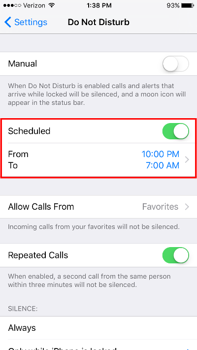 Block Calls on iPhone Set Do Not Disturb Times