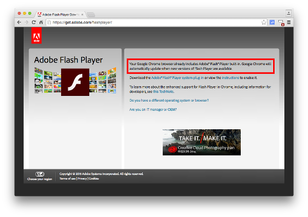Updating Chrome Automatically Updates Adobe Flash
