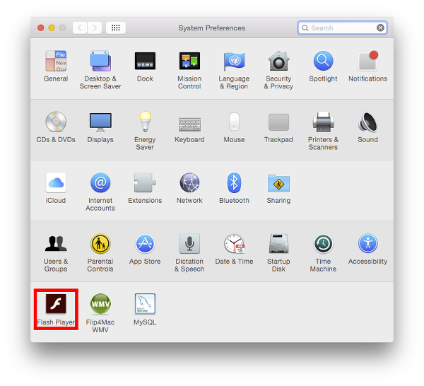 Flash Player Settings on System Preferences