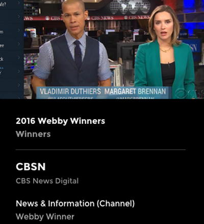 CBSN Webby Award